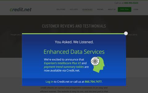 Screenshot of Testimonials Page credit.net - Testimonials | Reviews | Ratings | Credit.net - captured Dec. 12, 2018