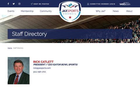 Screenshot of Contact Page jaxsports.com - JAXSPORTS Staff Directory | About  | JAXSPORTS Council - captured July 9, 2018