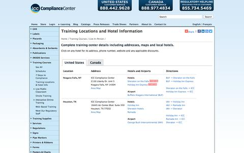 Screenshot of Locations Page thecompliancecenter.com - ICC -> Training Courses -> Locations - captured Nov. 7, 2016