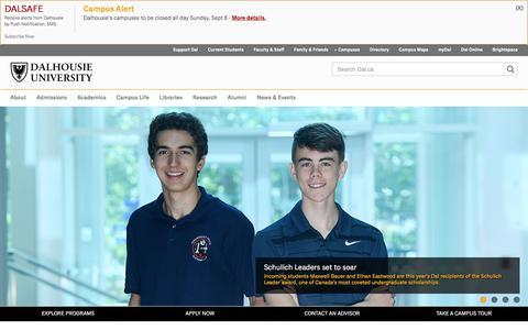 Screenshot of Home Page dal.ca - Dalhousie University ‑ Halifax, Nova Scotia, Canada - captured Sept. 8, 2019