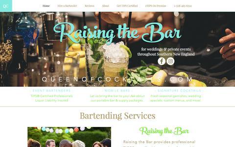 Screenshot of Home Page queenofcocktails.com - Hire a Bartender | Wedding & Event Bartending | Get TIPS® Certified - captured Sept. 19, 2017
