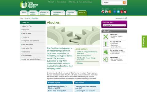 Screenshot of About Page food.gov.uk - About us   food.gov.uk - captured Sept. 24, 2014