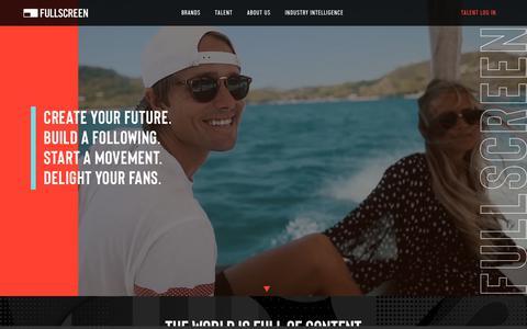 Screenshot of Home Page fullscreen.com - Fullscreen   Social Content for Talent and Brands - captured Aug. 20, 2019