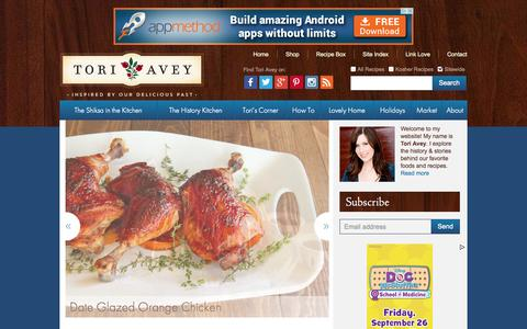 Screenshot of Home Page toriavey.com - Tori Avey | Recipes & History – Inspired by our Delicious Past - captured Sept. 19, 2014
