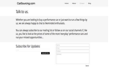Screenshot of Contact Page carsourcing.com - The home of performance car investment - captured Oct. 25, 2016