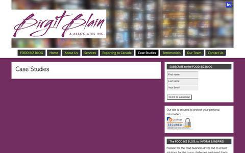 Screenshot of Case Studies Page bbandassoc.com - Case Studies - FOOD BIZ BLOG - captured Oct. 6, 2018
