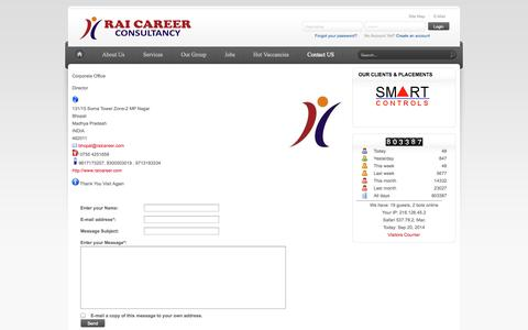 Screenshot of Contact Page raicareer.com - Corporate Office - captured Sept. 19, 2014