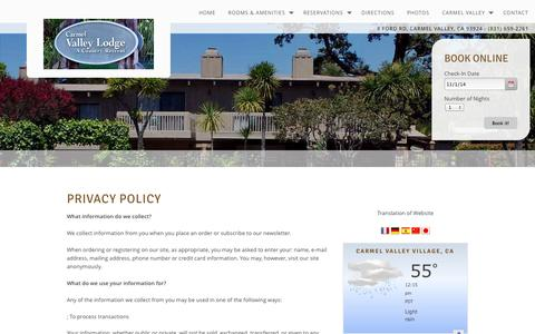 Screenshot of Privacy Page valleylodge.com - Privacy Policy Carmel Valley Lodge Monterey Peninsula Winery Weddings Carmel Valley California CA Hotels Motels Accommodations - captured Nov. 1, 2014