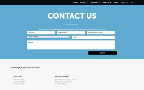 Screenshot of Contact Page sadeghilawfirm.com - Contact Us Today | Copenbarger & Associates Law Firm - captured Oct. 4, 2017
