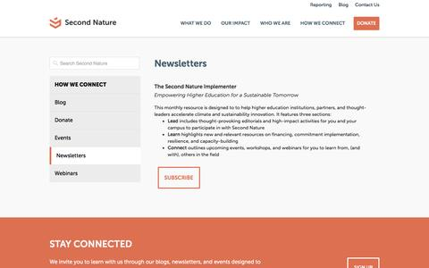 Screenshot of Signup Page secondnature.org - Newsletters - Second Nature - captured Jan. 12, 2016