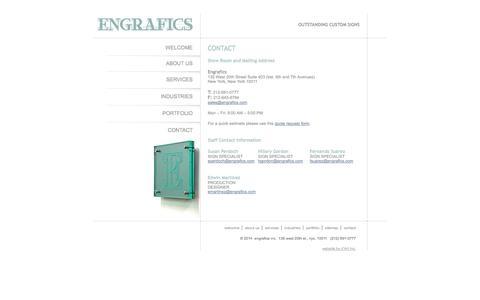 Screenshot of Contact Page engrafics.com - Engrafics - Custom Signs & Signage - New York NY - captured Oct. 3, 2014