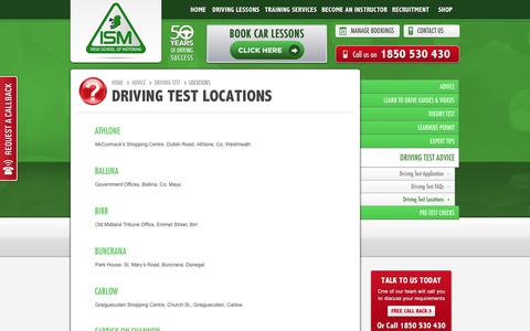 Screenshot of Locations Page ism.ie - Driving Test Centres Ireland - Driving Test Centre Locations | Irish School of Motoring - captured Oct. 6, 2017
