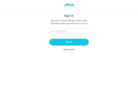 Screenshot of Login Page affirm.com - Affirm - captured June 10, 2016