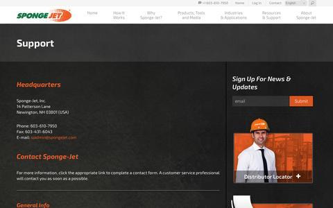 Screenshot of Support Page spongejet.com - Support | Sponge-Jet - captured March 10, 2016