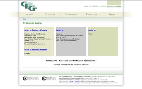 Screenshot of Login Page cfglife.com - Producer Login   Columbian Financial Group - captured Jan. 30, 2016