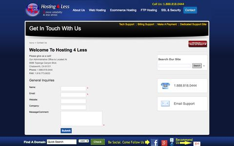 Screenshot of Contact Page hosting4less.com - Hosting 4 Less - Contact Information - captured Oct. 28, 2014