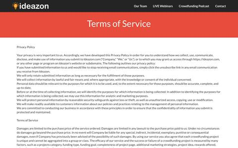 Screenshot of Terms Page ideazon.com - Ideazon - Contact - captured Nov. 6, 2018