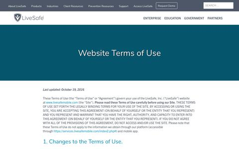 Screenshot of Terms Page livesafemobile.com - Terms of Use for the LiveSafe Website | - captured Aug. 8, 2019