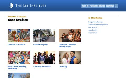 Screenshot of Case Studies Page leeinstitute.org - Case Studies  —  The Lee Institute - captured Oct. 20, 2018