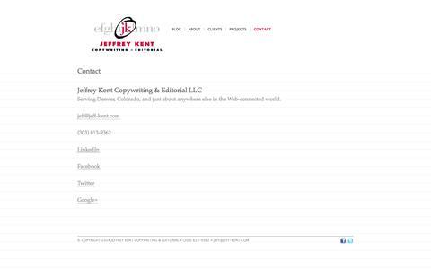 Screenshot of Contact Page jeff-kent.com - Contact - Jeffrey Kent Copywriting and Editorial - captured Oct. 6, 2014