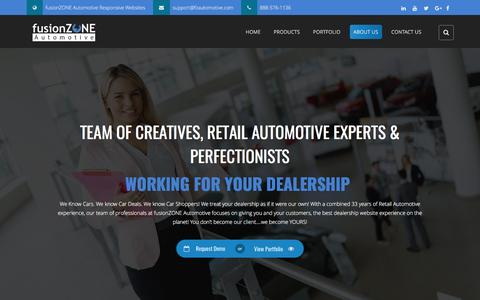 Screenshot of About Page fzautomotive.com - About Us - fusionZONE Automotive - captured Feb. 15, 2017