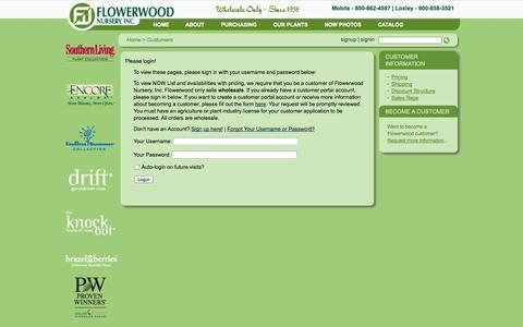 Screenshot of Pricing Page flowerwood.com - Flowerwood Nursery, Inc.   Customers - captured Oct. 6, 2014