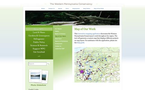Screenshot of Maps & Directions Page waterlandlife.org - Western Pennsylvania Conservancy   Map of Our Work - captured Nov. 3, 2014