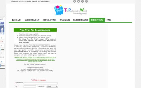 Screenshot of Trial Page thepsychometricworld.com - Free Online Psychometric Testing - captured Oct. 2, 2014