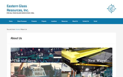 Screenshot of About Page eglassr.com - About Us - Eastern Glass Resources, Inc. - captured Jan. 25, 2016