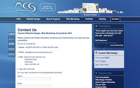 Screenshot of Contact Page net-commerce-solutions.co.uk - Net Commerce Solutions Ltd - captured Oct. 7, 2014