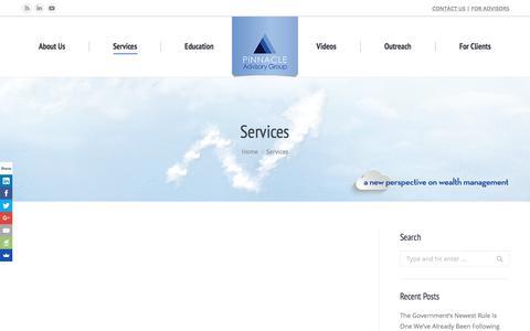 Screenshot of Services Page pinnacleadvisory.com - Services - Pinnacle Advisory Group - The Wealth Management Advisors - captured Aug. 3, 2017