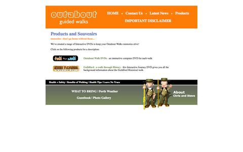 Screenshot of Products Page outabout.com.au - Outabout guided walks - our Products - captured Oct. 7, 2014