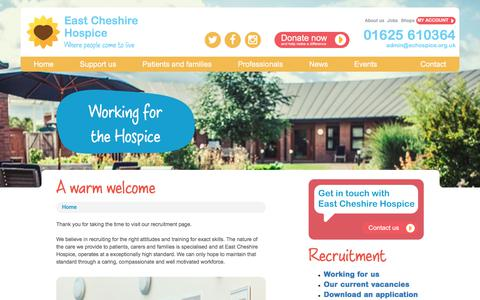 Screenshot of Jobs Page eastcheshirehospice.org.uk - Work for us - East Cheshire Hospice - captured July 15, 2018