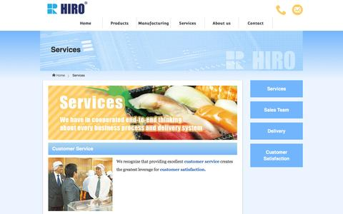 Screenshot of Services Page hirofood.com - Services | Hiro Food - captured Nov. 9, 2016