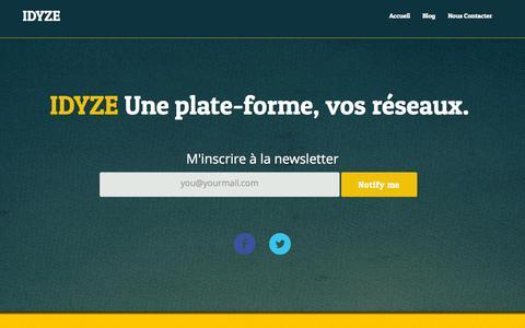 Screenshot of Home Page idyze.fr - Idyze Plateforme collaborative pour les entreprises et associations - IDYZE - captured Sept. 30, 2014