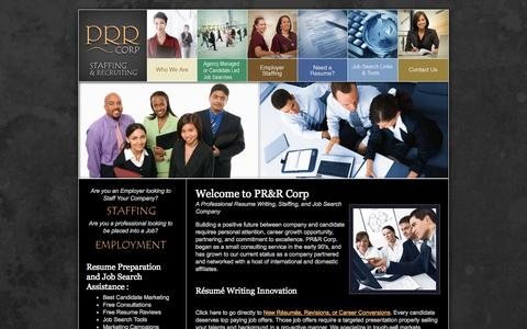 Screenshot of Home Page prrcorp.com - Resumes, Professional Resumes and Recruiting PRR Corp, Resume Service, Staffing, Recruiting, Employment Temp and Direct Hire - captured Sept. 26, 2014