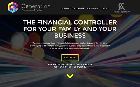 Screenshot of Home Page generationaccountants.com.au - Generation Accountants & Advisers   Specialists in accounting, taxation, investments, insurance, bookkeeping and banking. - captured June 18, 2015