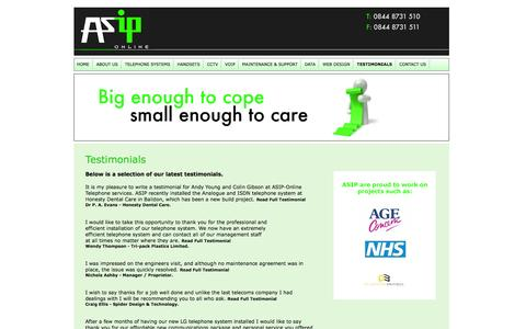 Screenshot of Testimonials Page asip-online.co.uk - Asip Online - The Telecoms Service you can trust - captured Sept. 30, 2014