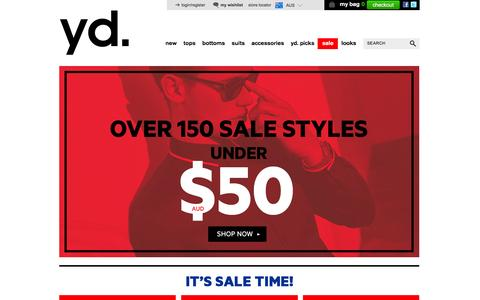 Screenshot of Home Page yd.com.au - yd. Australia | Mens Clothing Online AU | Menswear & Accessories | yd - captured Jan. 20, 2016