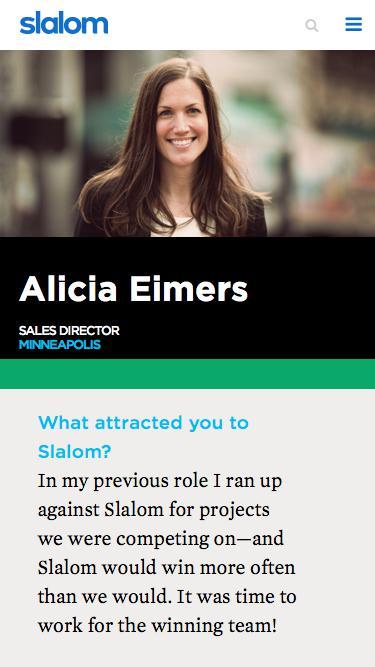 Screenshot of Team Page  slalom.com - Alicia Eimers | Slalom