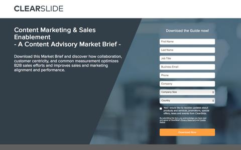 Screenshot of Landing Page clearslide.com - Content Marketing & Sales Enablement<br>- A Content Advisory Market Brief - - captured Sept. 21, 2018