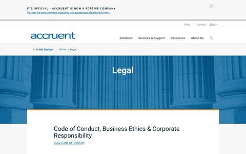 Screenshot of Terms Page accruent.com - Legal | Accruent - captured Oct. 30, 2018