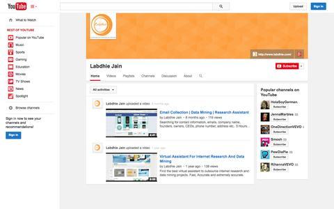 Screenshot of YouTube Page youtube.com - Labdhie Jain  - YouTube - captured Oct. 22, 2014
