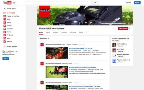 Screenshot of YouTube Page youtube.com - MountfieldLawnmowers  - YouTube - captured Oct. 30, 2014