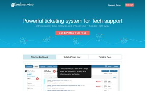Screenshot of freshservice.com - Freshservice IT Helpdesk Ticketing - captured Jan. 11, 2017
