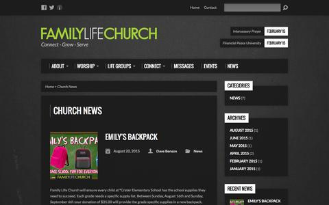Screenshot of Press Page myflc.org - Church News - Family Life Church - captured Feb. 9, 2016
