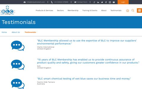 Screenshot of Testimonials Page blcleathertech.com - Customer Reviews | BLC Leather Technology Centre Ltd - captured Oct. 9, 2017