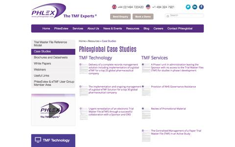 Screenshot of Case Studies Page phlexglobal.com - Case Studies - Phlexglobal - The Trial Master Experts - captured May 9, 2017