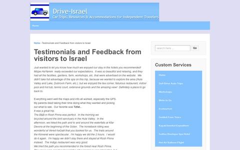 Screenshot of Testimonials Page drive-israel.com - Testimonials and Feedback from visitors to Israel | Drive Israel - captured April 12, 2016