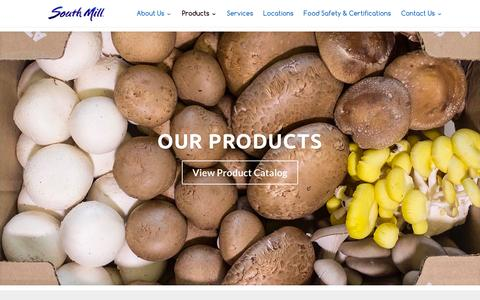 Screenshot of Products Page southmill.com - Products | South Mill - Fresh Mushrooms, Produce & More - captured Feb. 12, 2016